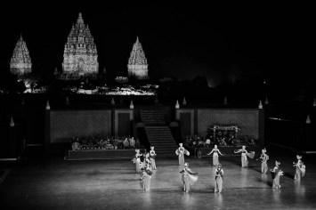Ramayana ballet show with Prambanan temple as background.