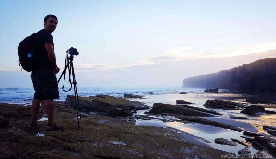 Jose shooting at Cathedrals beach at sunrise - Ribadeo - Galicia - A World to Travel 2
