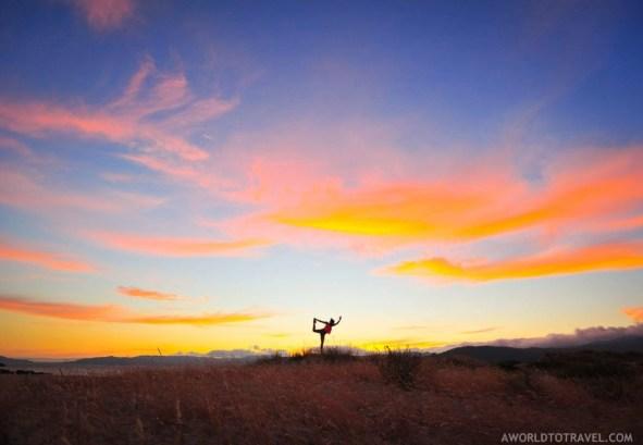 Natarajasana - Dancer yoga pose - Sunset in a Galician beachNatarajasana