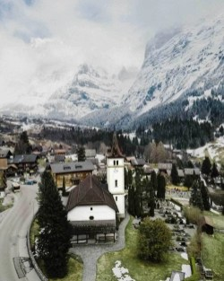 Church in Grindelwald in Winter - Switzerland