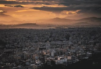 Athens under a dramatic sky