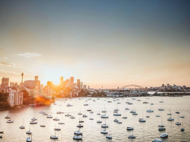 Aerial view of Sydney at sunset - best walks in Sydney