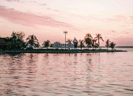 Cienfuegos coastal spot under a pink sky, Cuba