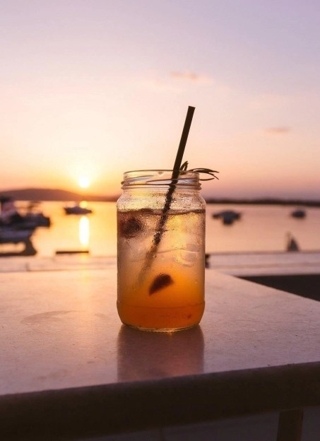 Glass mason jar in Vourvourou, Halkidiki, Greece