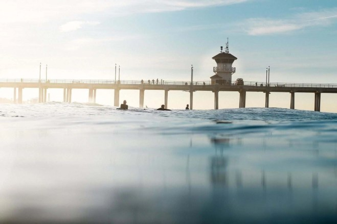 Peer view from water surface in Huntington Beach, United States