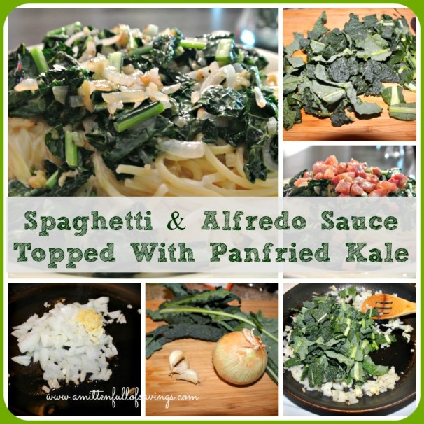 Spaghetti & Alfredo Sauce Topped With Panfried Kale