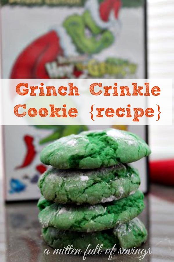 Grinch Crinkle Cookie {recipe}