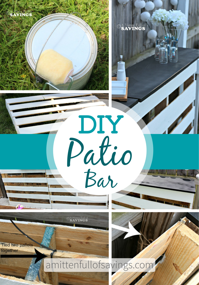 Diy patio bar made out of wood pallets this worthey life for Diy wood bar