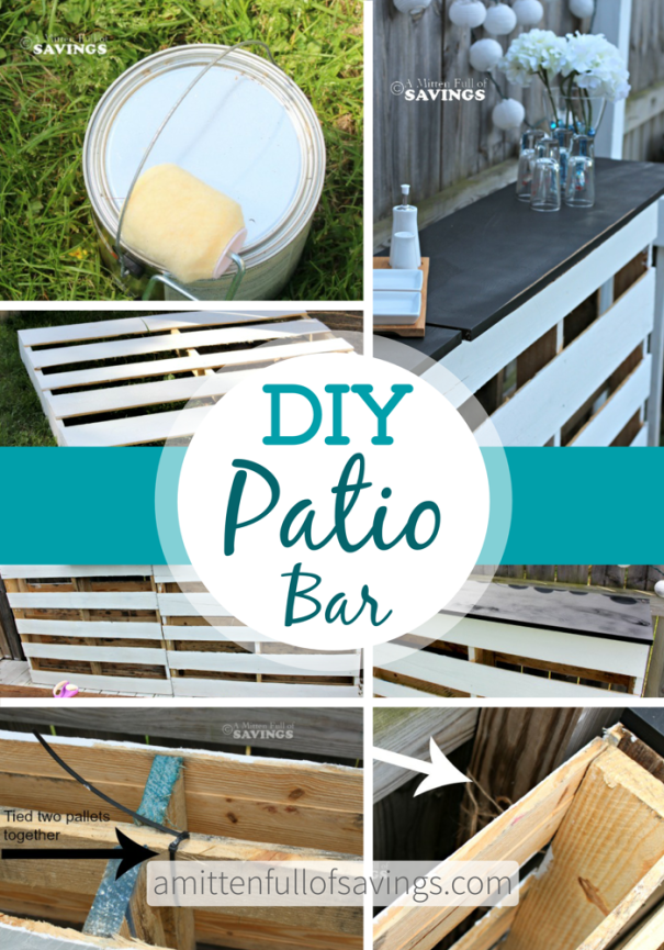 Learn how to make a DIY Patio Bar Made Out Of Wood Pallets for just under $20 bucks - tips on outdoor pallet bar, bar made from pallets, pallet bar diy