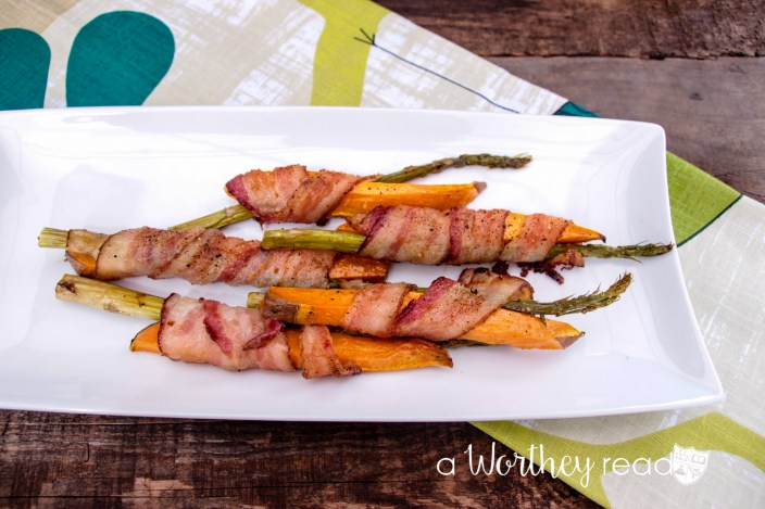 Everyone loves a meal with bacon in it! Add a little aspargus and sweet potatoes to make this easy appetizer: Asparagus & Sweet Potato Wrapped with Bacon
