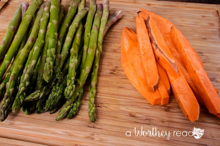 Asparagus & Sweet Potato Wrapped with Bacon