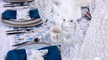 Blue & White Winter Wonderland Tablescape-28