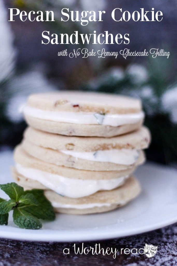 Easy Cookie recipe with peppermint: Pecan Sugar Cookie Sandwiches with No Bake Lemony Cheesecake Filling