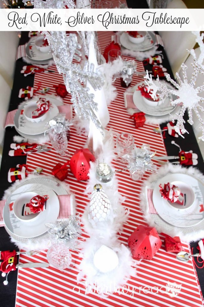 Reindeer Decor is popular for Christmas Decor. Here's a Christmas decor idea- Red, White, Silver Christmas Tablescape