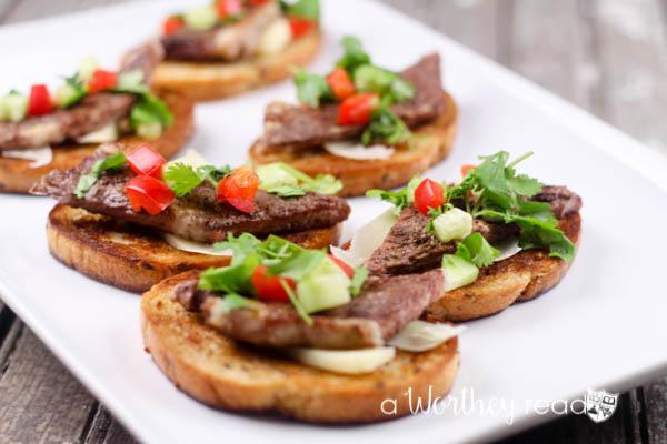 Angus Steak Bruschetta Appetizers