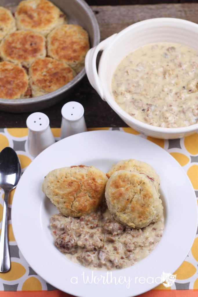 Buttermilk Bacon Biscuits & Italian Sausage and Mushroom Gravy