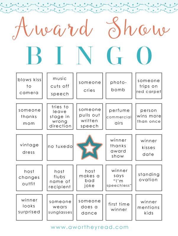 Award Show Bingo Printable