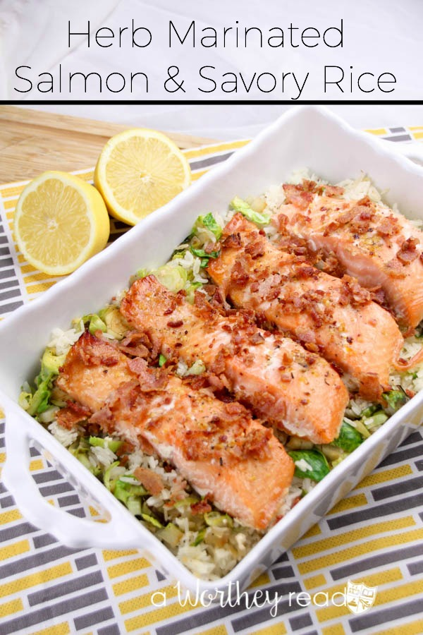 Herb marinated salmon savory rice for Rice recipes for fish