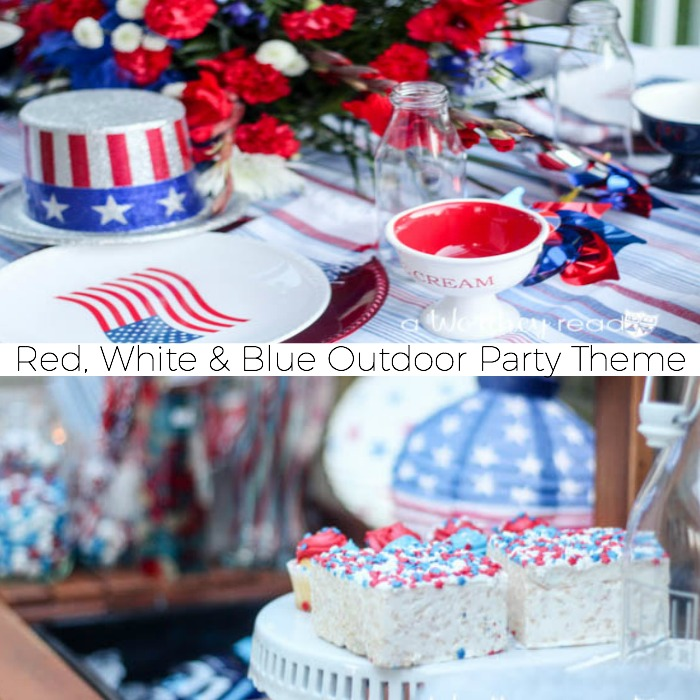celebrate summer with a red white blue outdoor party theme party idea