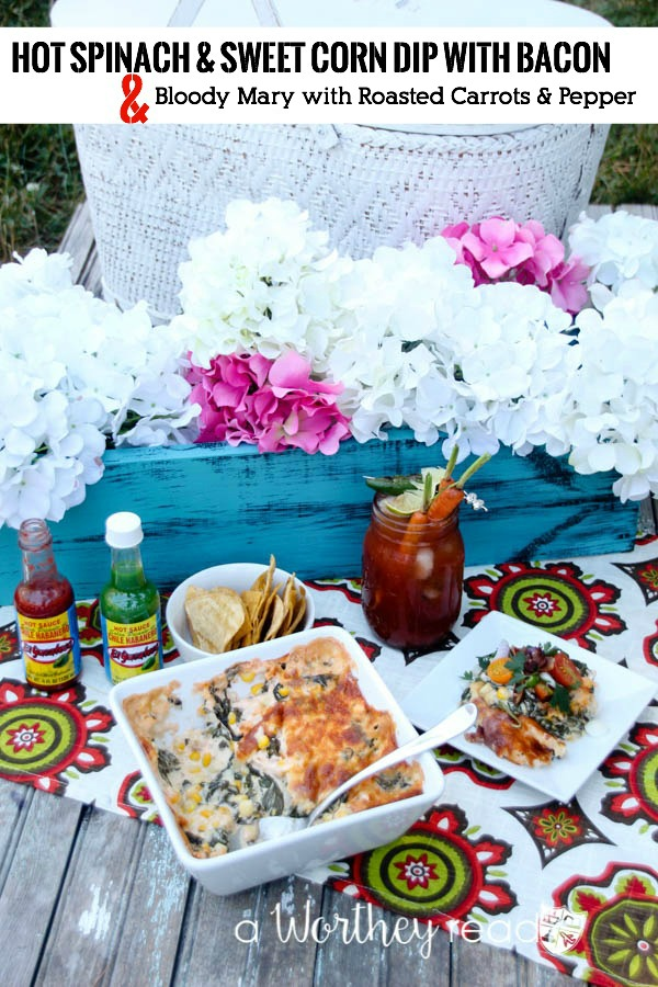 Hot Spinach & Sweet Corn Dip with Bacon Mini Salad & The Bloody Mary With Roasted Carrot & Pepper Cocktail. This combination packs a powerful punch of hot spices, but not too hot. Dripping with cheesy goodness and corn, this easy appetizer is perfect for a summer picnic or a game day appetizer!