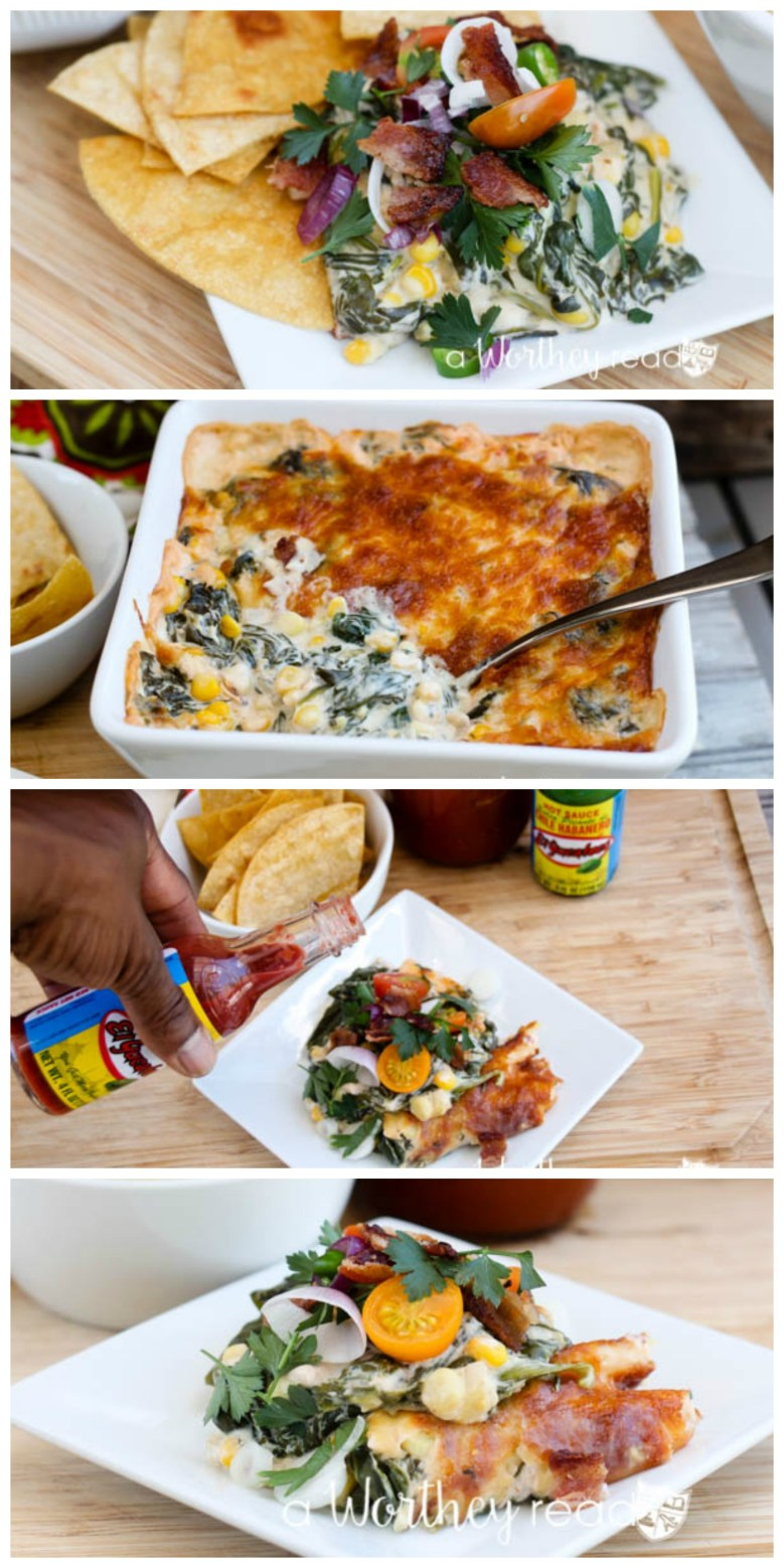 Hot Spinach & Sweet Corn Dip with Bacon Mini Salad & The Bloody Mary White Roasted Carrot & Pepper Cocktail. This combination packs a powerful punch of hot spices, but not too hot. Dripping with cheesy goodness and corn, this easy appetizer is perfect for a summer picnic or a game day appetizer!
