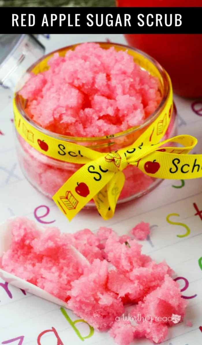 This Red Apple Homemade Sugar Scrub is a great choice to make for Teacher Appreciation Gifts! Make our luxurious homemade sugar scrub in just a few steps!