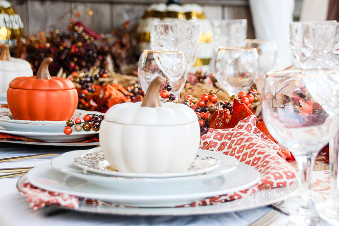 Tablescape Ideas gold & orange thanksgiving tablescape ideas - this worthey life