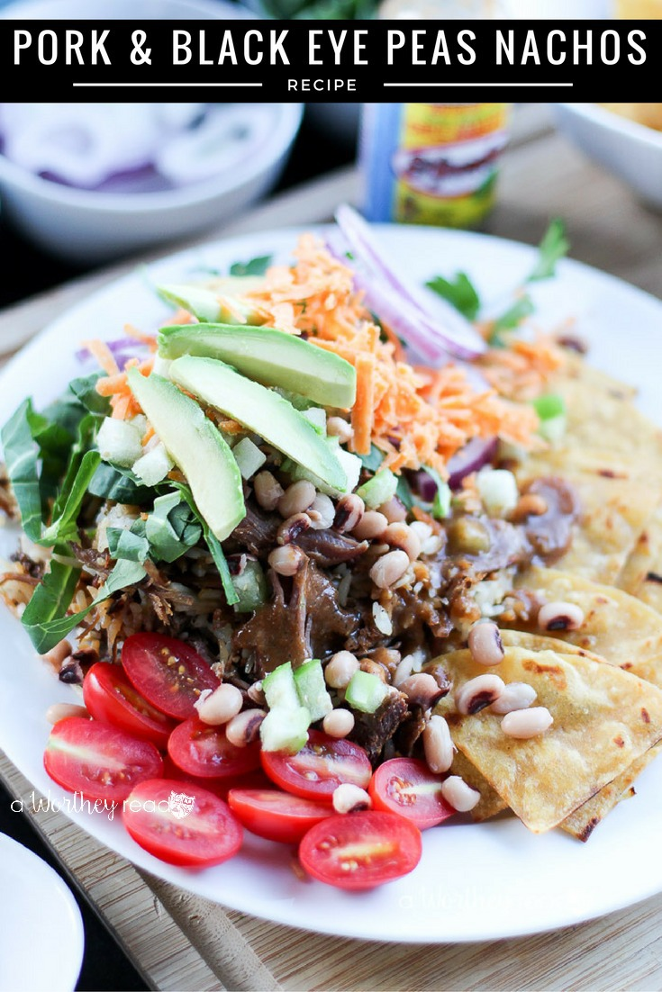Ring in the New Year with this lucky meal: pork, greens and black eye peas. Plus, it's an easy Nacho recipe you can make any time of the year! Lucky Pork & Black Eye Peas Nachos