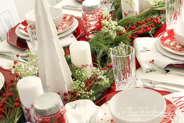 Red & White Christmas Tablescape