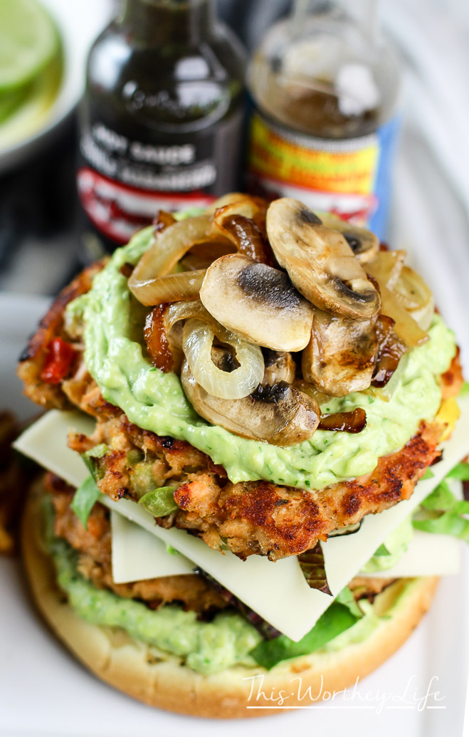 Double Salmon Burger w- Avocado Mayo + Caramelized Onions and Mushrooms