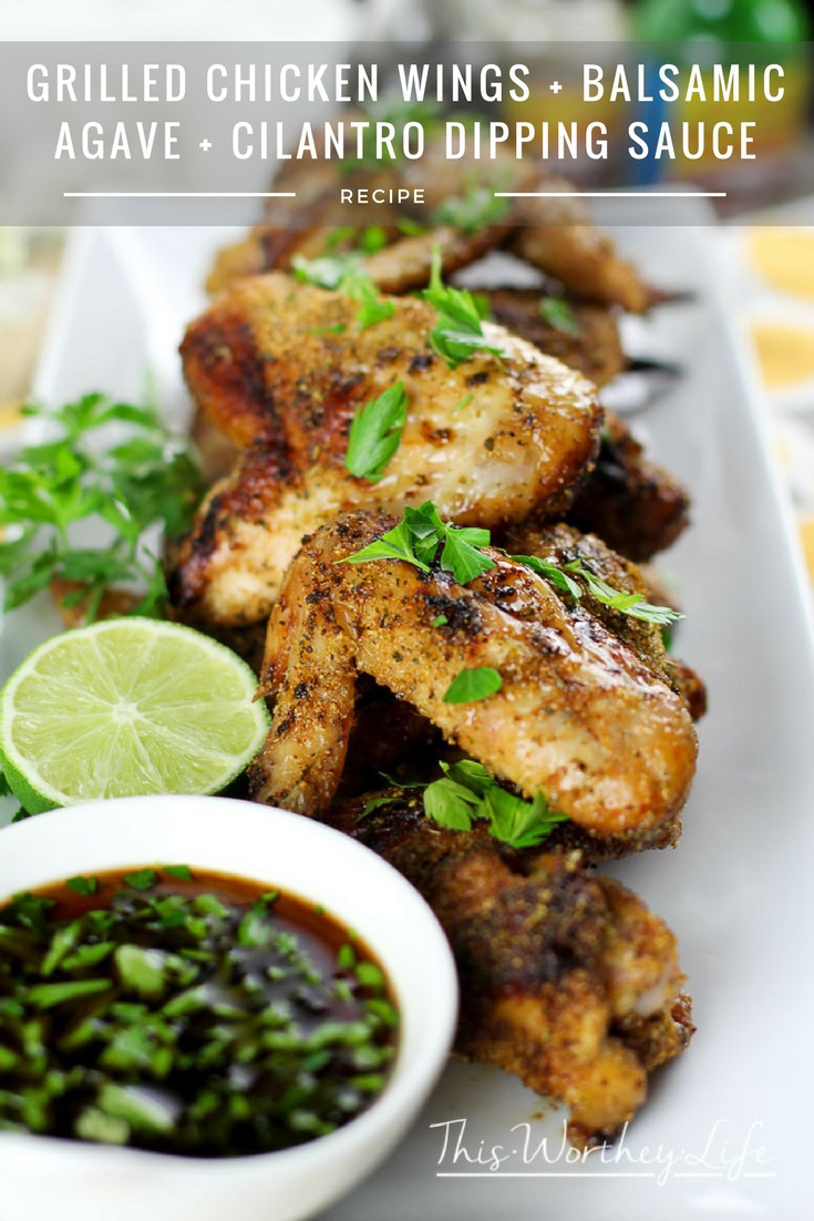 Try our Grilled Chicken Wings + Balsamic Agave + Cilantro Dipping Sauce this summer. Great BBQ chicken wing recipe for summer entertainment! Our grilled chicken wing recipe is a crowd favorite, and perfect for any party, including game day appetizers!
