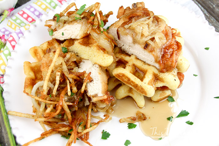 Cornmeal + Buttermilk Waffles + Savory Fried Chicken