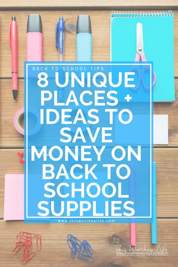Back to school season is here. Here are 8 Unique Places + Ideas To Save Money On Back To School Supplies, plus ways to save on school supplies. Going back to school shopping shouldn't break the bank or stress you out. Here are three important things I do, and what you should do in order to have a successful and budget-friendly school shopping experience.