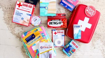 When you're packing your bags to travel, don't forget the first-aid essentials. Here are a few tips on how to create your own DIY Travel First-Aid Kit, with a printable.