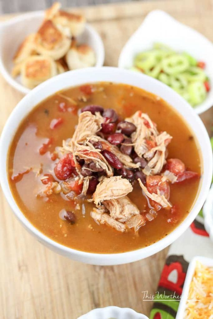 Chicken Tortilla Soup Instant Pot recipe with Tortilla Croutons