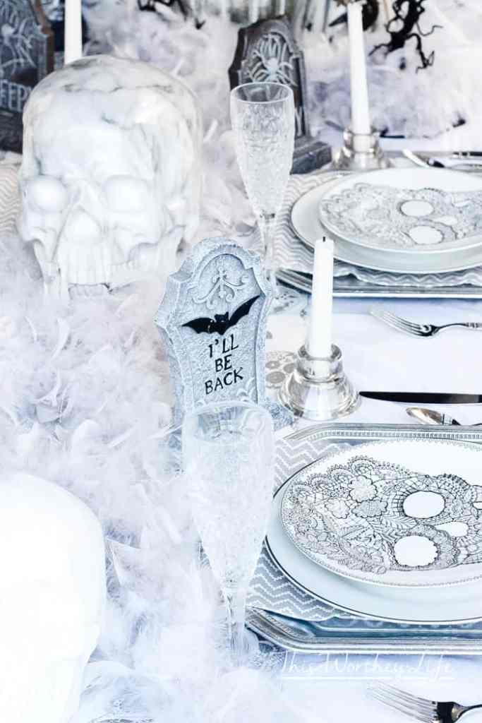 Halloween Decor Idea: Grey & White Skeleton Graveyard Tablescape