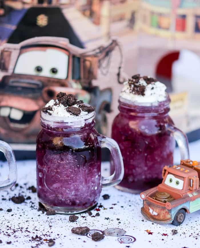 To celebrate the Cars 3 movie, we've created a fun, kid-friendly drink featuring Mater. The kids are going to love this Mater Frozen Motor Oil drink! Grab the recipe on the blog!