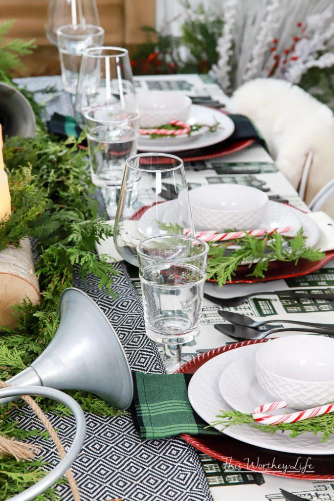 Green + Black + Red Magnolia Themed Tablescape