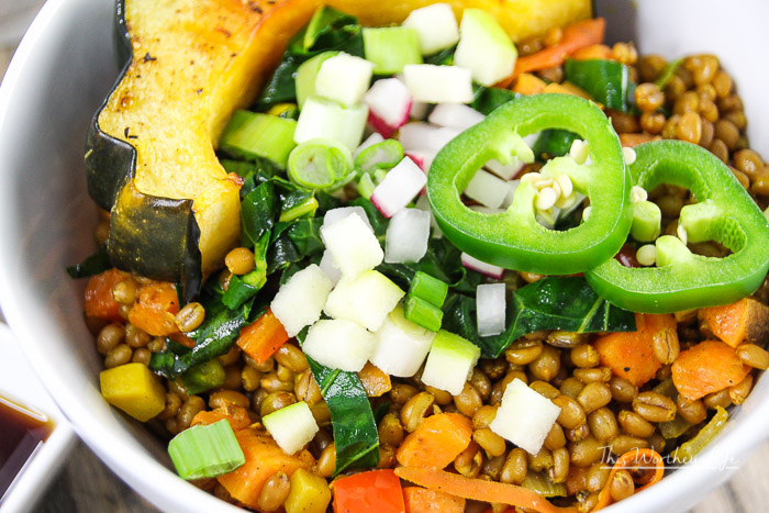 Turmeric & Garlic Wheat Berry Bowl + Veggies