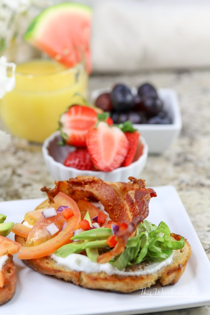 Breakfast is served with our version of a BLT, called the Loaded Breakfast Toast.