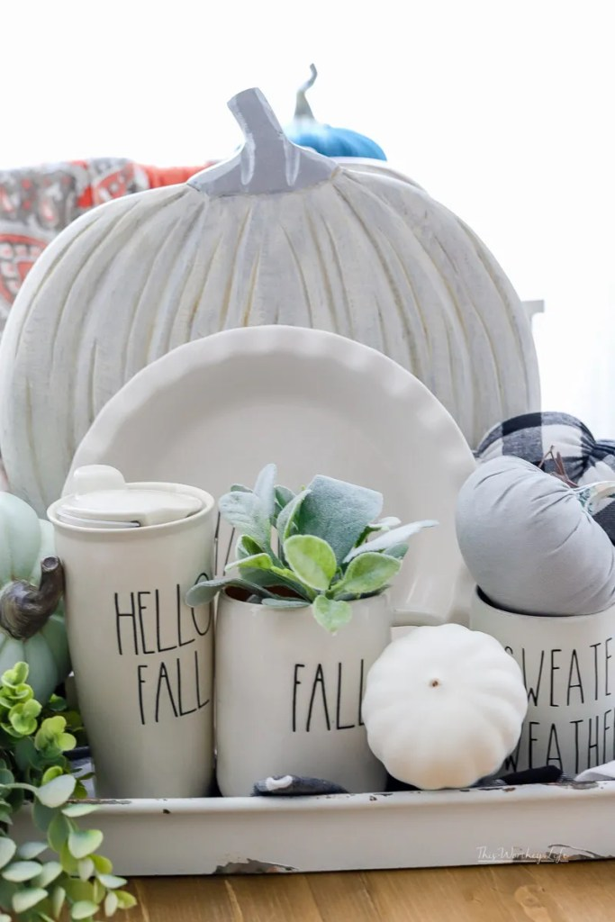 Are you looking for a simple and easy idea using Rae Dunn items? Then check out this Rae Dunn Fall Display Idea I put together, and you can do the same!