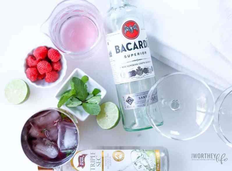 Valentine's Day cocktail idea- Cranberry Pink + Raspberry Mojito