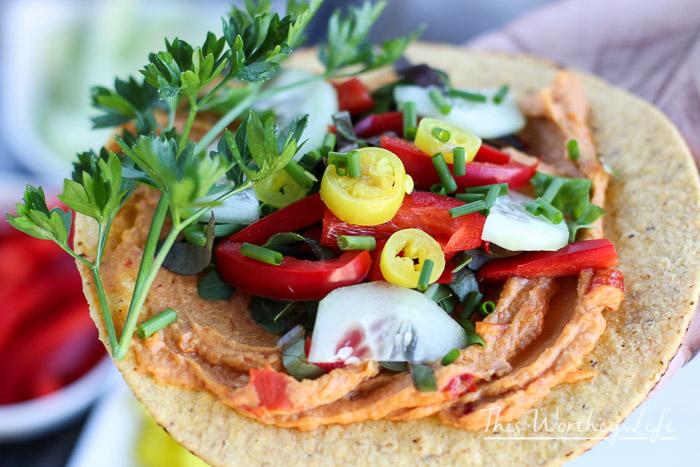 Vegan Veggie + Hummus Tostadas