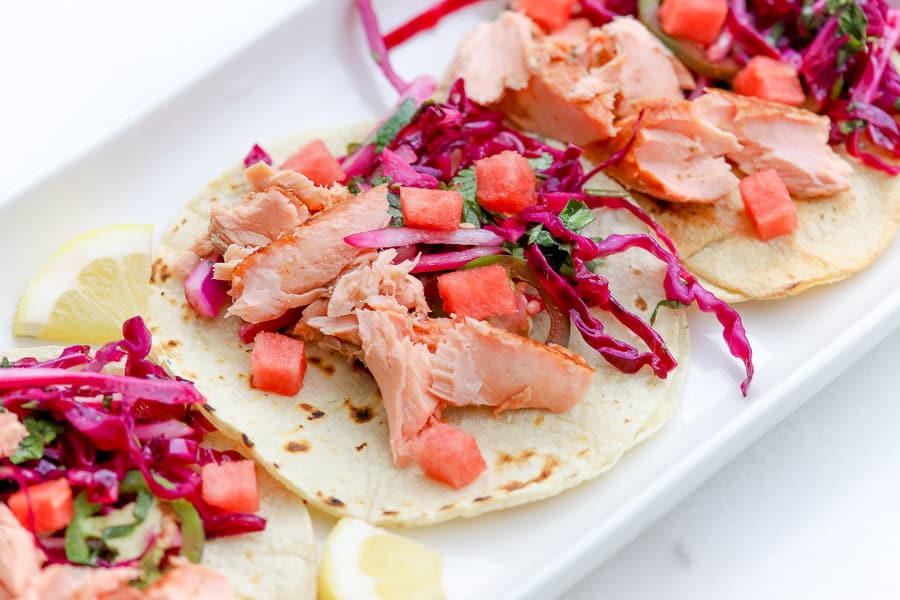 Try our take on the perfect summertime recipe featuring salmon tacos with a watermelon slaw. It's deliciously different and your mouth will be unexpectedly excited. They didn't see this one coming!