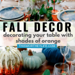 Fall tablestting with orange, blue, gold and bronze