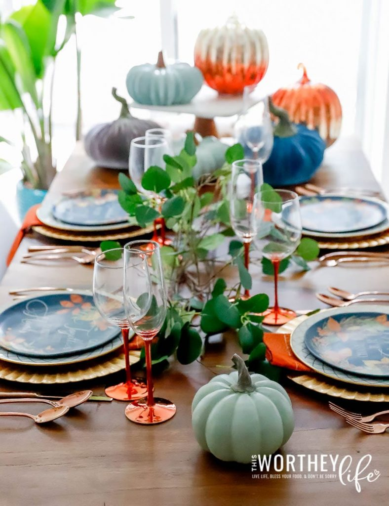 Fall tablescape idea using shades of orange