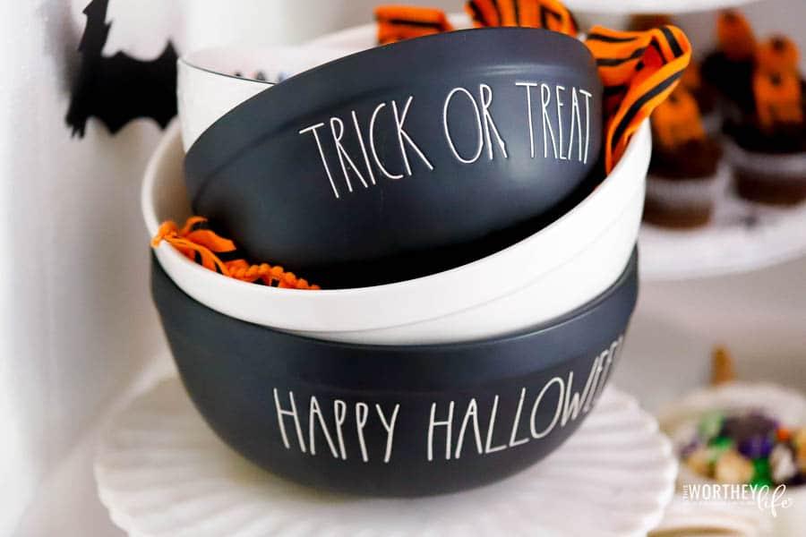 Rae Dunn Halloween black bowls