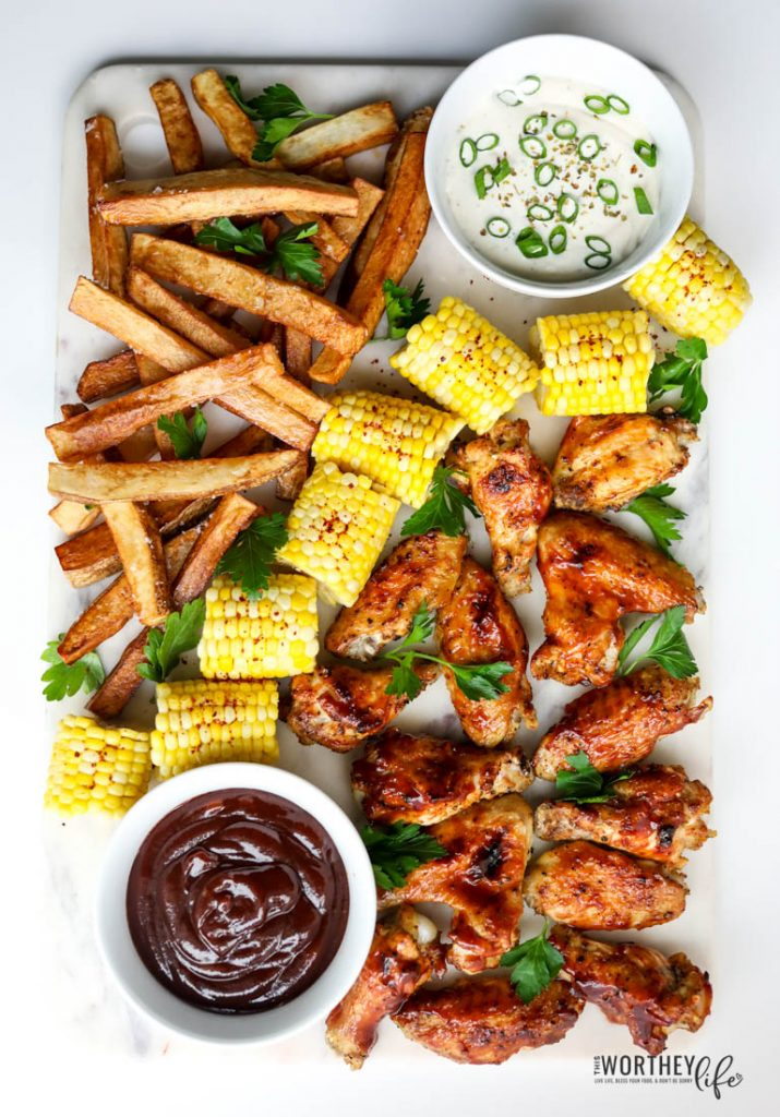 Instant Pot Chicken Wings Recipe - Grazing Board with wings, corn on the cob and homemade fries