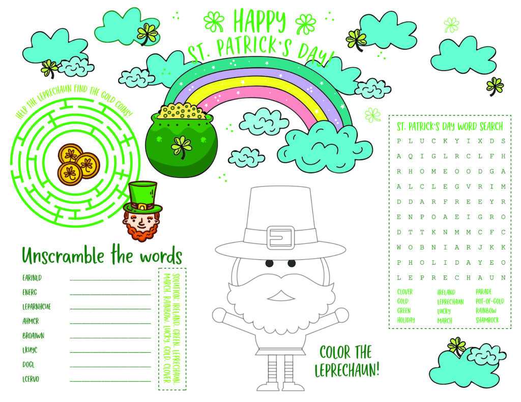 Colorful St Patrick S Day Printable Activity Page For Kids