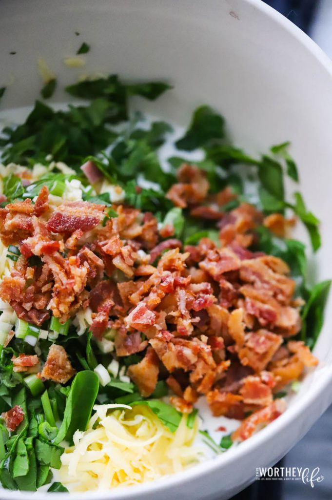 ingredients for spinach and bacon quiche